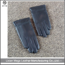 Children's black color winter leather gloves factory
