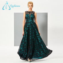 Unique Design Satin V Back Long Lace Prom Dresses