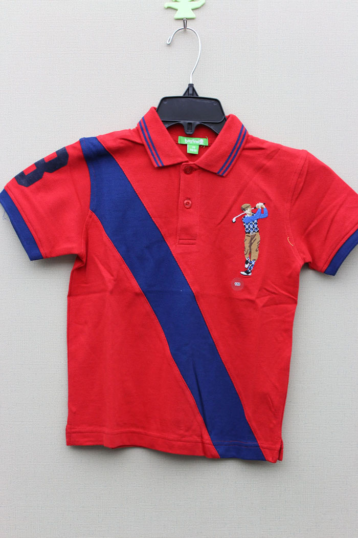 Boy's 100% Cotton Knitted Panel Polo with Golf Embroider
