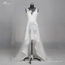 LZ155 Alibaba spezielle hohe niedrige ärmellose Applique Brautkleid Spitze Perlen Brautkleider