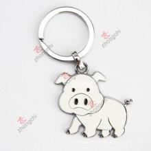 Enchiré en alliage bon marché Mignon Pig Metal Custom Key Chain