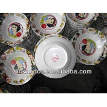 Haonai 2014 bulk ceramic Snow White dinner/soup plate