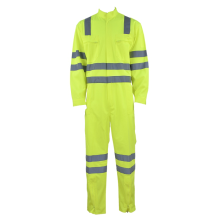 Workwear verde fluorescente do coverall com fitas reflexivas