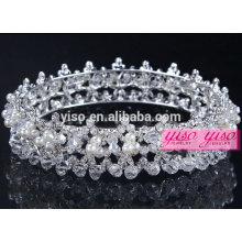 Cristal de pérolas de diamante coroas de tiara de casamento de concurso de beleza
