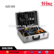 Caja de almacenamiento de información de herramienta de alta calidad, caja de herramientas portátiles de aluminio con paletas de herramienta plegable y ajustable compartimientos dentro de
