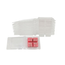 Clear Plastic 4 Cavity Wax Melt ClamShells Mold