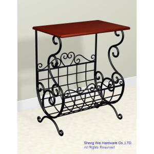 Metal and Wood Magazine Holder Sofa Side Table