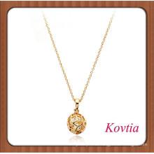 HEISSES Gold überzogen hohle heraus Kugelform hängende Halskette mit Kristall