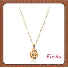 HOT gold plated hollow out ball shape pendant necklace with crystal