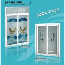 UPVC Porte de salle de bain avec verre dépoli et volet de ventilateur