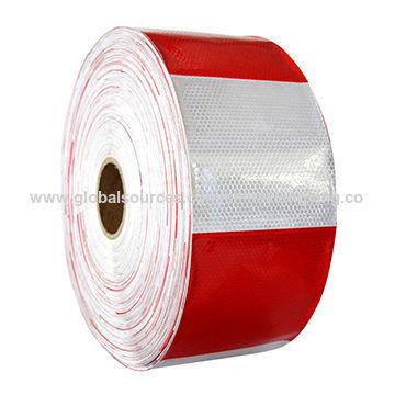 Fita reflexiva vermelha e branca de PVC para veículo