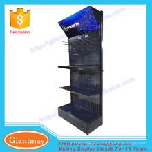 schwarze Farbe Metall Bodenbelag Display Stand Pegboard mit Haken