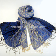 Fashionable leopard jacquard wholesale pashmina