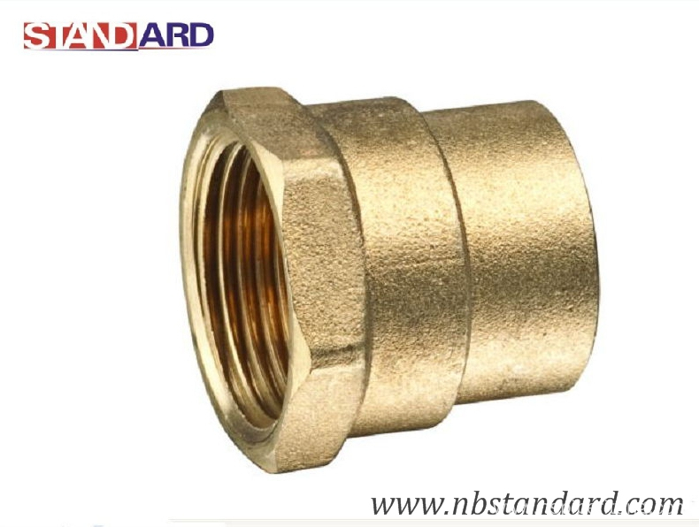 Brass solder fitting for plumbing pipe screw