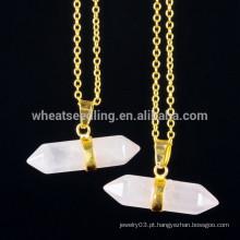 Ouro cadeia de moda pingente de pedra natural colar de jóias de pedras preciosas por atacado