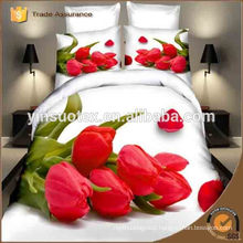 Korea 100% polyester 3D print bedding set with rose flower printed