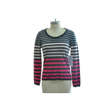 100% Cashmere Women Simple Striped Knitted Sweater