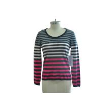 100% Cashmere Mulheres simples listrada malha camisola