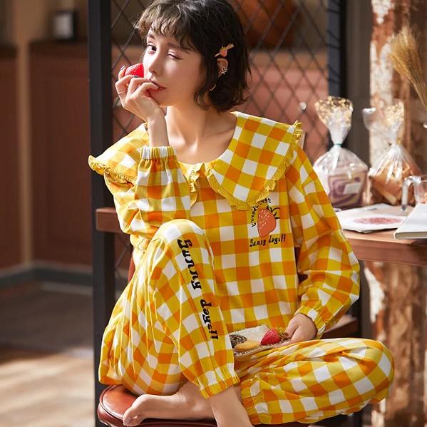 Long Sleeved Cotton Nightwear Pajamas Set