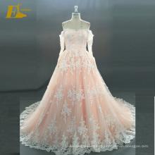 ED nupcial elegante barco escote de manga larga de encaje de espalda Alibaba vestido de novia vestido de novia