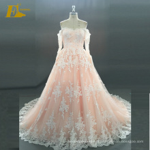ED Bridal Elegante Barco Decote Long Sleeve Lace-Up Voltar Alibaba Vestido De Noiva Vestido De Noiva
