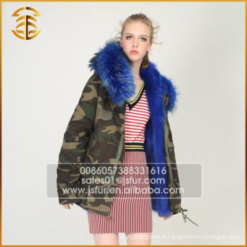 Vente en gros OEM Service Jackets Genuine Fox Brand Warm Fur Parka