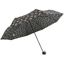 3-fach Blumenmuster Handbuch öffnen billige Kosten schwarzer Pongee-Regenschirm