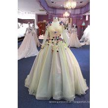 Vestidos de noite formal do baile de finalistas do partido da flor do amarelo da luva longa