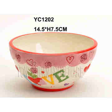Hand Painted Ceramic Bowl for Valentine′s Day