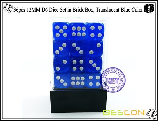 36pcs 12MM D6 Dice Set in Brick Box, Translucent Blue Color-2