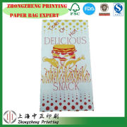 Laminated Material paper food bag for chicken,Takeaway Fried Food Paper Bag