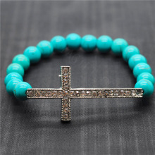 Turquoise 8MM Round Beads Stretch Gemstone Bracelet with Diamante Cross Piece