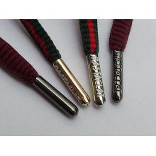 Personalizado gravado logotipo aglet / shoelace derrubando filme de renda Redonda