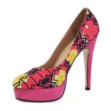 Zapatos de tacón alto de mujer con estampado africano (HCY02-1753)