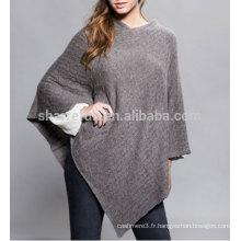 100% Poncho en cachemire tricoté classique