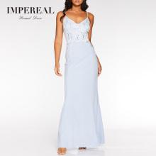 V Neckline Spaghetti Strap Sequined Lace Maxi Blue Bridesmaid Dress