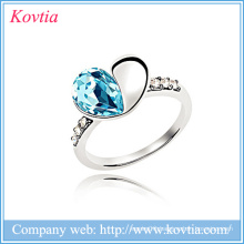 Korean austria crystal ring white gold jewelry ladies fashion heart ring