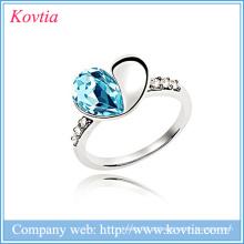 Coreano áustria cristal anel de ouro branco jóias senhoras forma coração anel