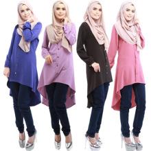 Moda modesta dubai fantasia uslim rendas islâmica roupas mais recentes abaya mulheres blusa
