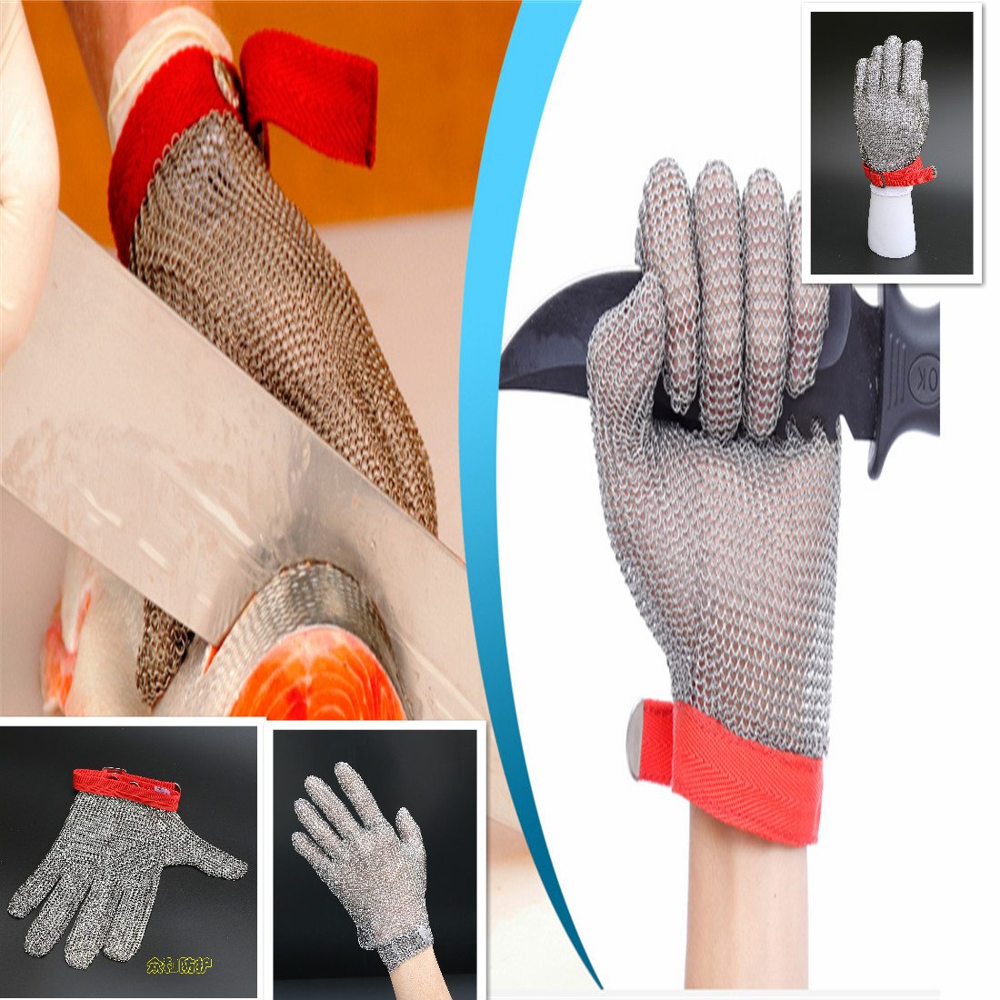 Dubetter Stainless steel mesh safety gloves with hook strap