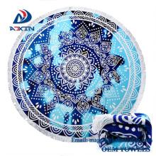 Fábrica Promotion150 * 150 cm 50 estilos 100% algodão impresso rodada toalha de praia com borla