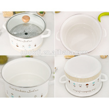 Vaporizador de esmalte metálico com decalques completos e puxadores de cerâmica e madeira