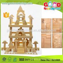 180pcs ronda esquinas madera natural inacabado niños grandes bloques