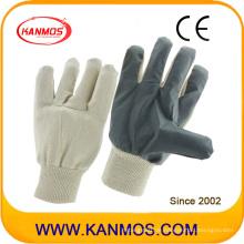 Weißes graues Vinyl Arbeitsschutz-Baumwoll-Arbeitshandschuhe (41018)