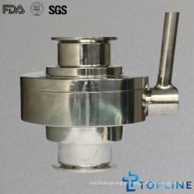 Válvula de esfera sanitária de aço inoxidável com terminais de grampo (para indústria vinícola)