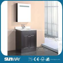 Muebles de baño de MDF montados en el piso con gabinete de espejo