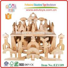 Stocked 200pcs de alta calidad de madera de goma Unidad estándar Bloques Set