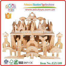 Stocked 200pcs High Quality Rubber Wood Standard Unit Blocks Set