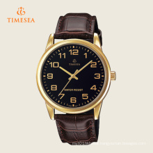 Mens Analog Mineral Glass Leather Strap Black Dial Watch 72276