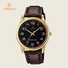 Relógio de pulso de vidro mineral análogo 72276 do preto da correia de couro dos homens